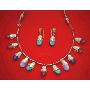 24 Ct. Gold Plated Multicolour Traditional Punjabi Jewellery Dakh set