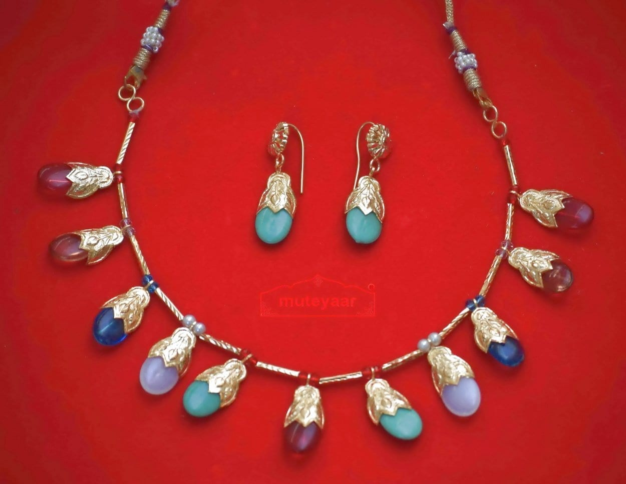 ORIGINAL GOLD PLATED Traditional Punjabi Jewellery Dakh set 2