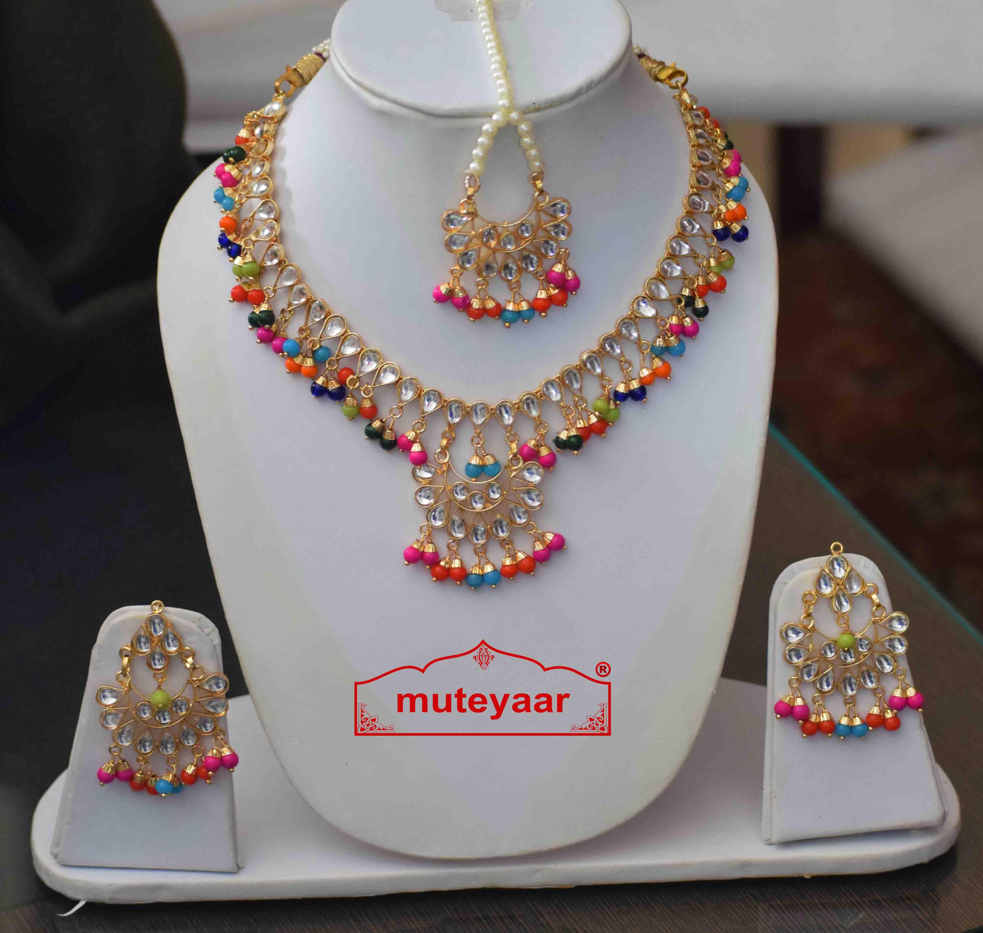 Multicolour Kundan Tikka Earrings Necklace Haar Set J0376 2