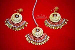 24 Ct. Gold Plated Traditional Punjabi Jewellery Earrings Tikka set Hand Made J0383