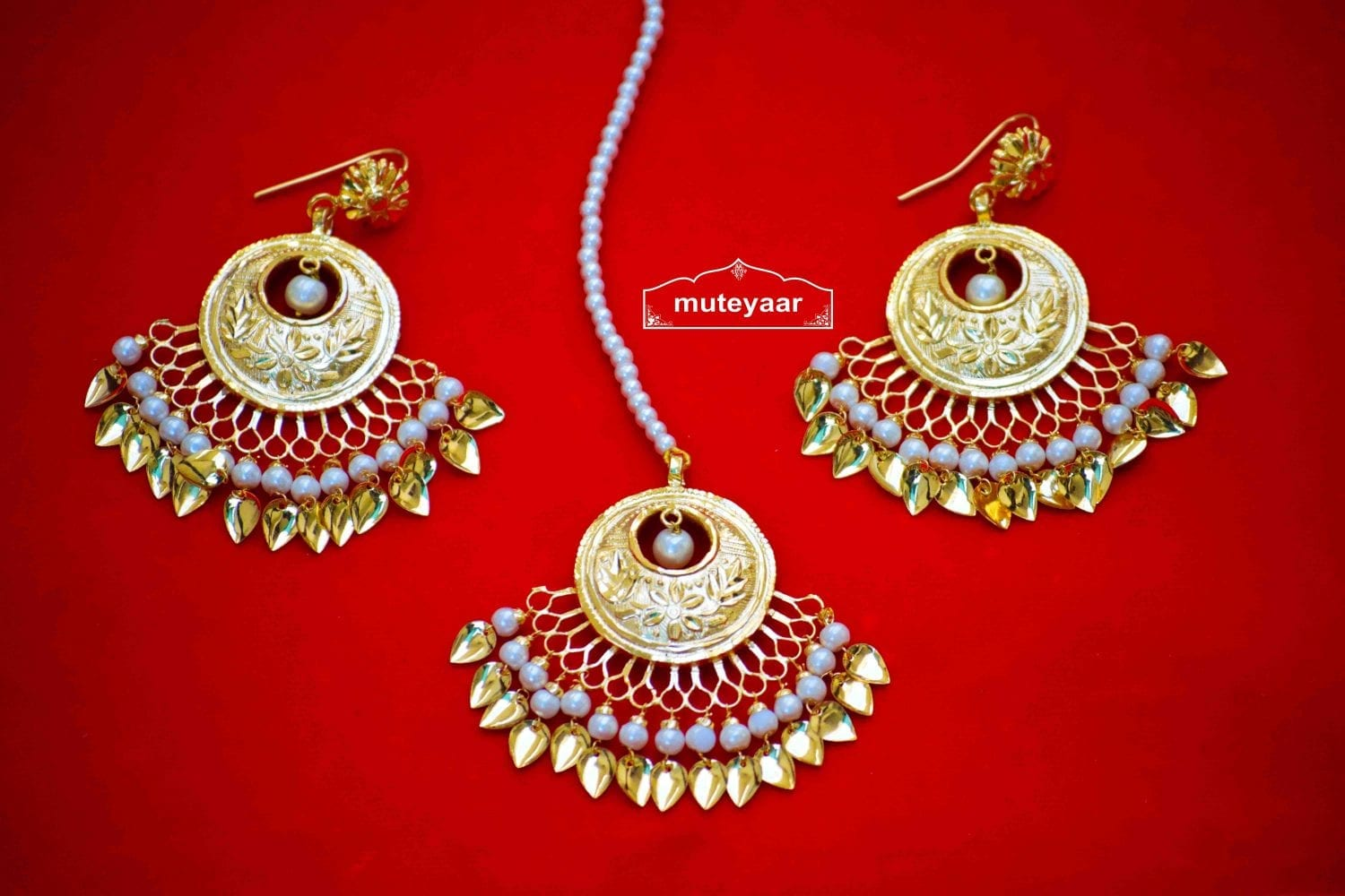 24 Ct. Gold Plated Traditional Punjabi Jewellery Earrings Tikka set Hand Made J0383 1