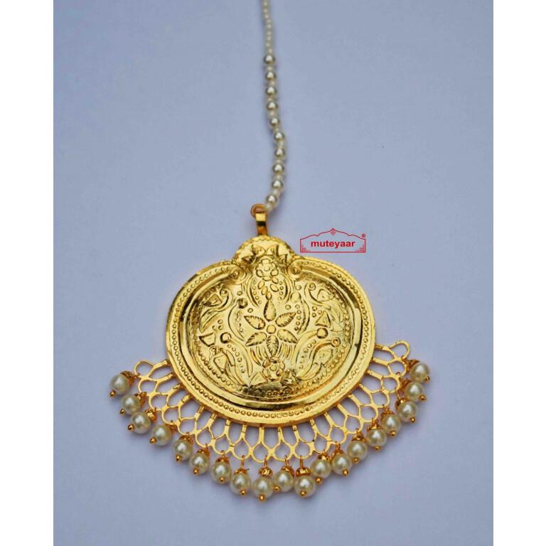 Gold Plated Traditional Punjabi Handmade  Tikka J0414