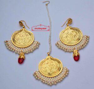 Gold Plated Traditional Punjabi Handmade Jewellery Earrings Tikka set J0415