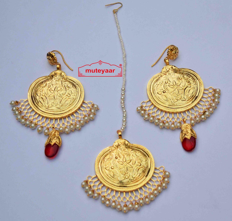 Gold Plated Traditional Punjabi Handmade Jewellery Earrings Tikka set J0415 1