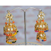 Kundan double Lotan Earrings with Multicolour Beads J0416