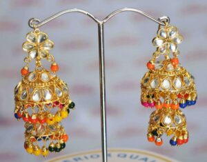 Kundan double Lotan Earrings with Multicolour Beads J0416