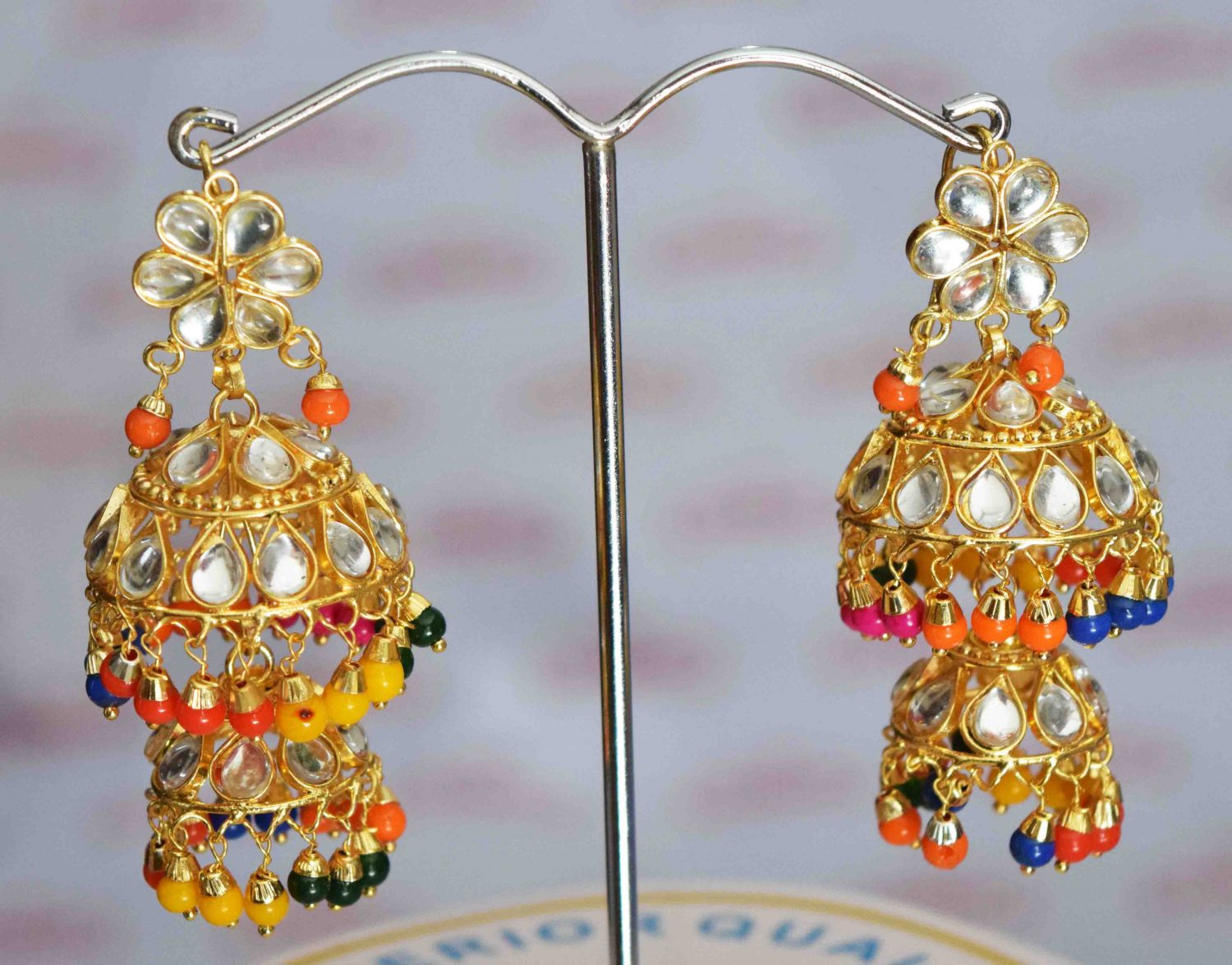 Kundan double Lotan Earrings with Multicolour Beads J0416 1