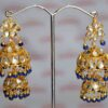 Kundan double Lotan Earrings with Royal Blue Beads J0417
