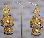 Kundan double Lotan Earrings with Royal Blue Beads J0417