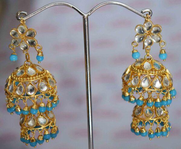 Kundan double Lotan Earrings with Firozi Beads J0420