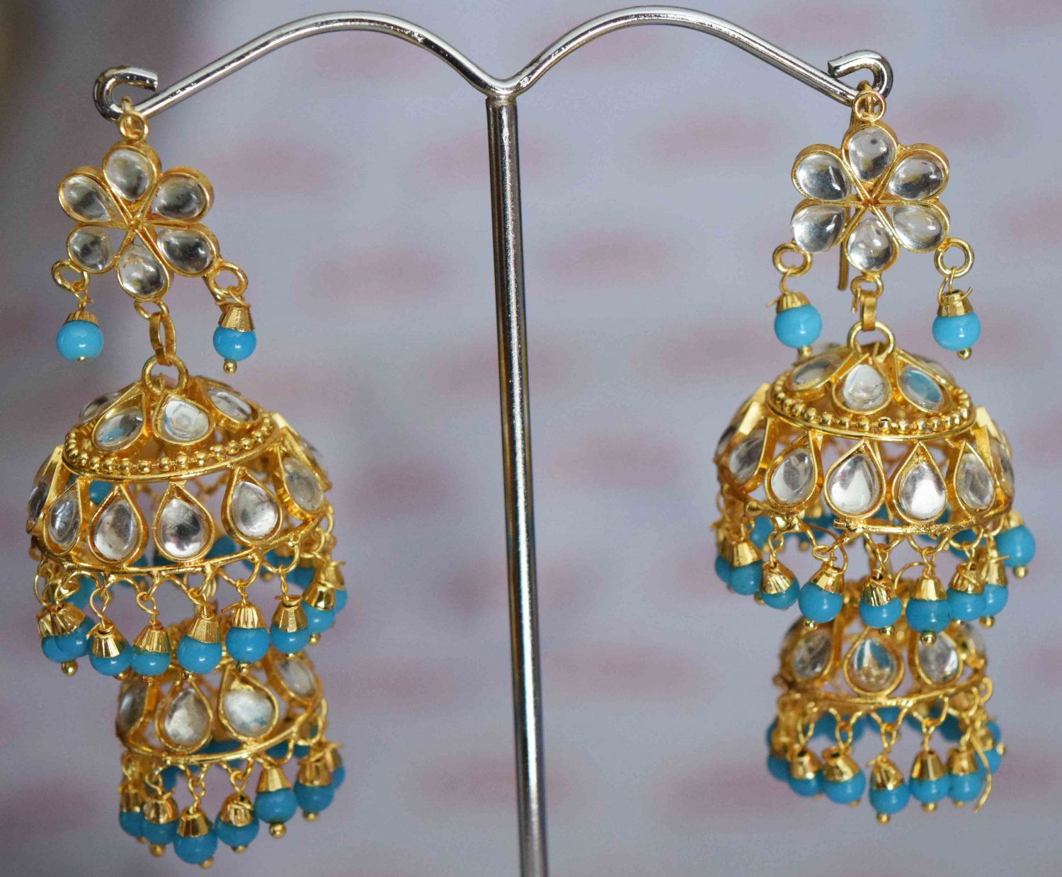 Kundan double Lotan Earrings with Firozi Beads J0420 1