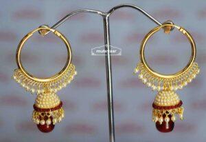 Maroon Moti Jewellery Gold Polish Traditional Punjabi Earrings small Jhumki J0424