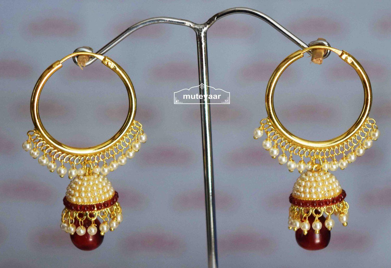 Maroon Moti Jewellery Gold Polish Traditional Punjabi Earrings small Jhumki J0424 1