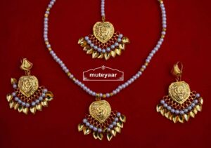24 Ct. Gold Plated Punjabi Traditional Pendant Earrings Tikka set J0426