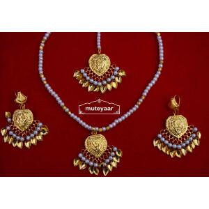 24 Ct. Gold Plated Punjabi Traditional Pendant Earrings Tikka set J0426