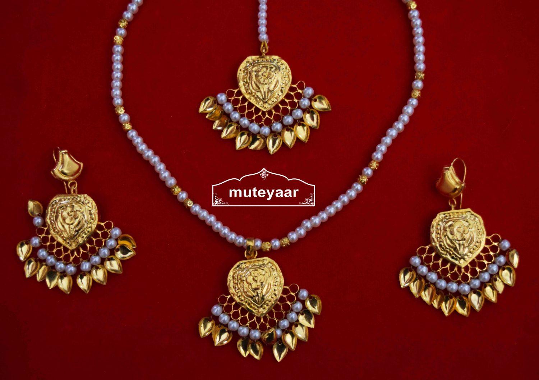 24 Ct. Gold Plated Punjabi Traditional Pendant Earrings Tikka set J0426 1