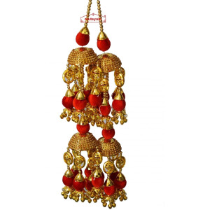 ZIRCON TAPE RED BALLS WEDDING KALEERA FOR PUNJABI BRIDE J0912