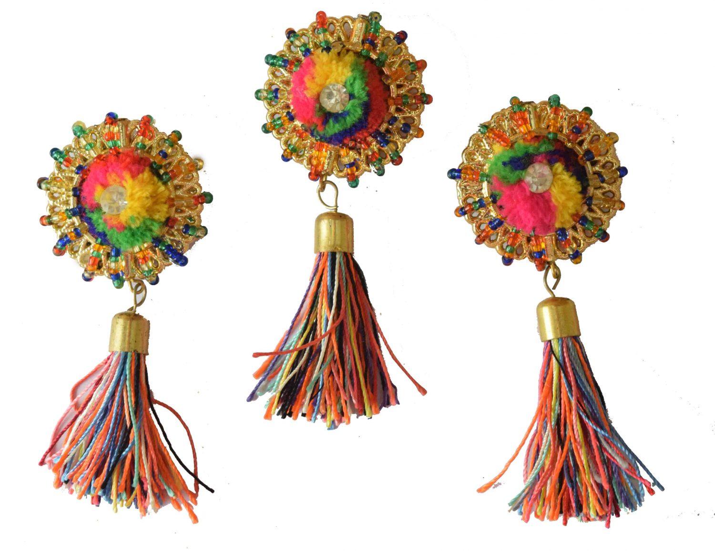 Multicolour Buttons with Tassel Latkans LK074 1