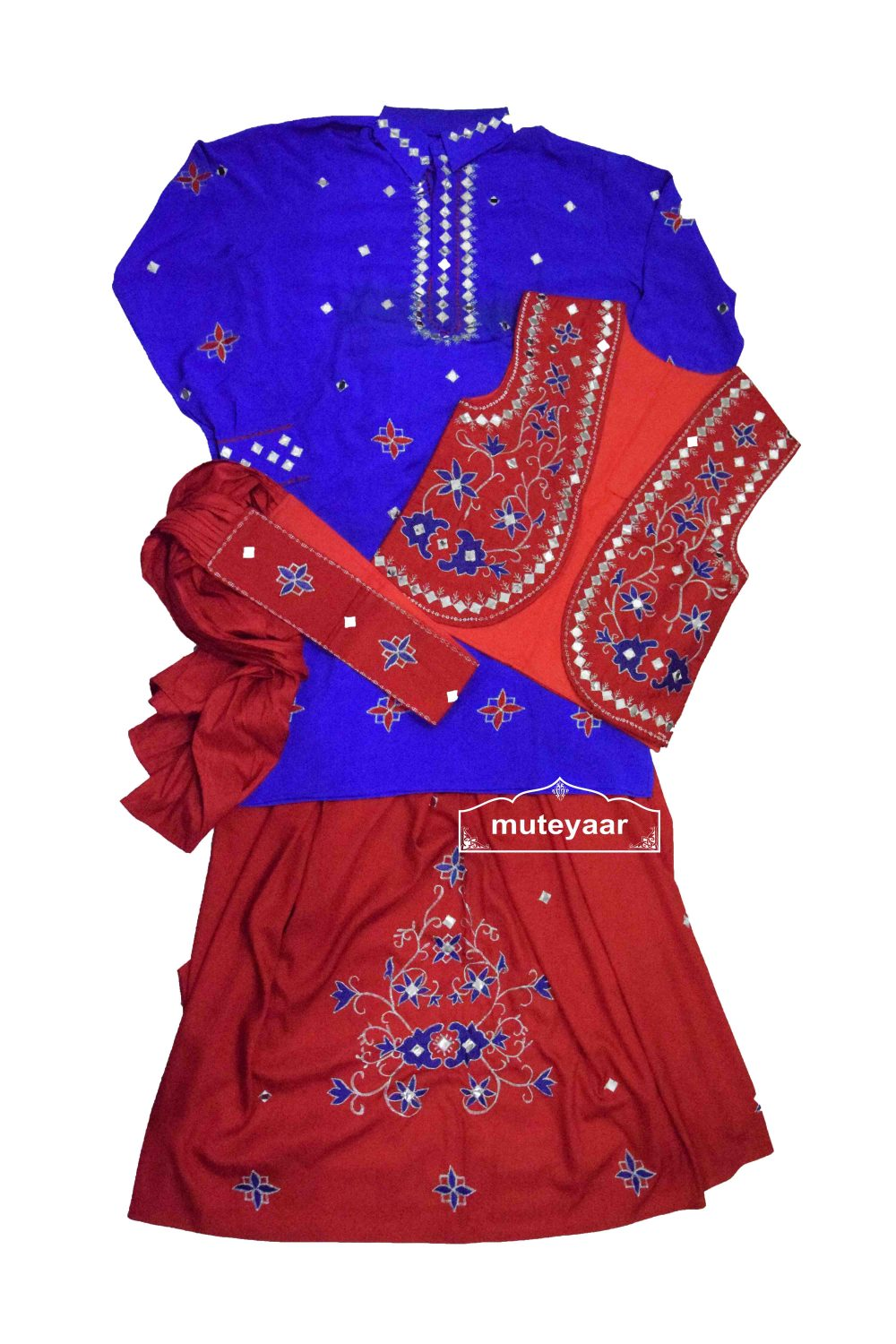 Embroidered Bhangra Costume Outfit Dance Dress for Men 1