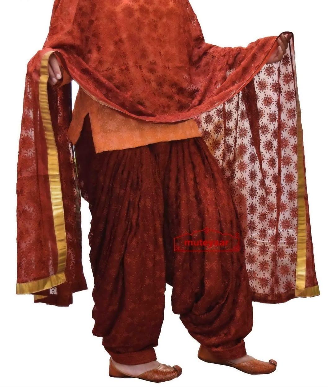 Brown Embroidered PHULKARI Patiala Salwar with matching Dupatta PHS05 1