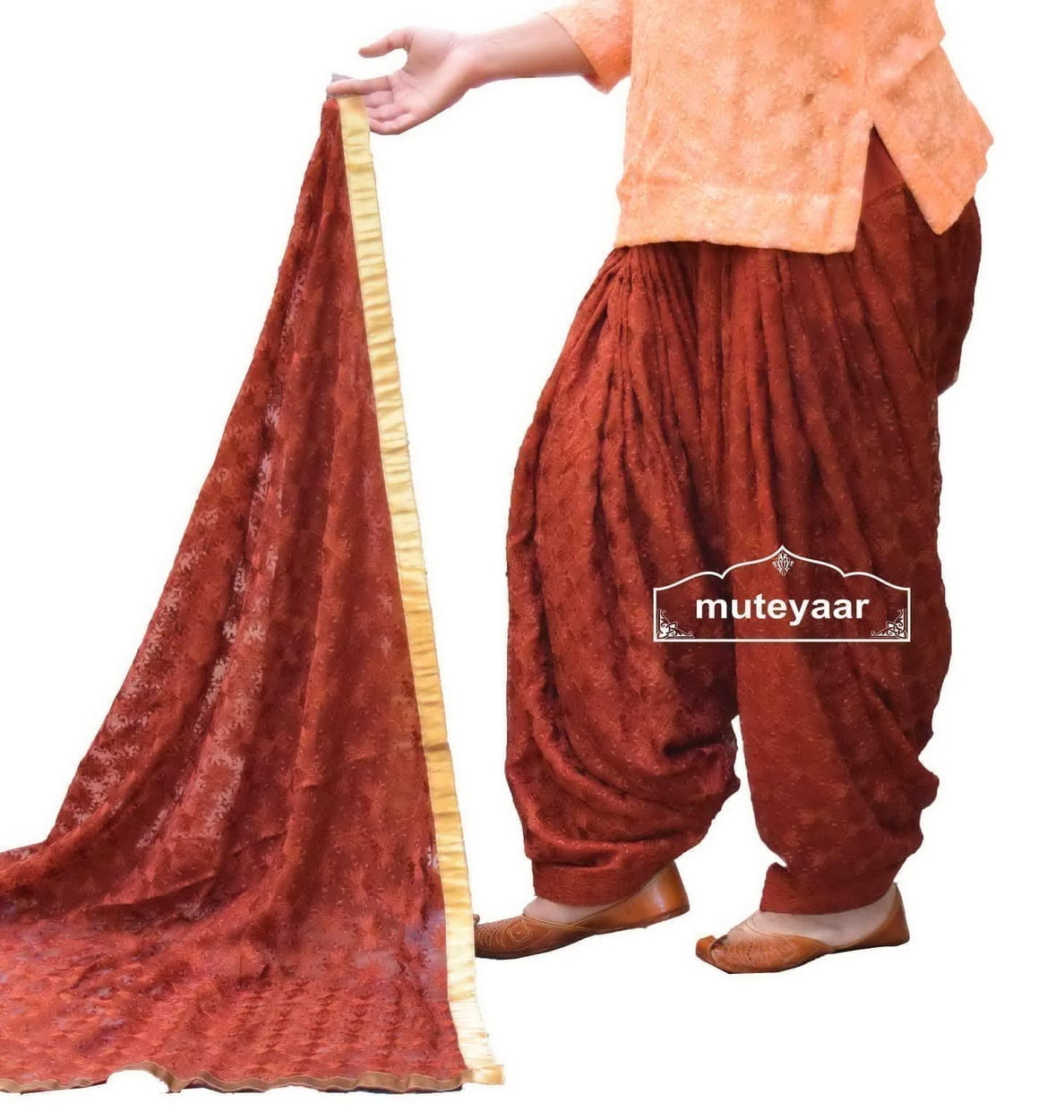 Brown Embroidered PHULKARI Patiala Salwar with matching Dupatta PHS05 2