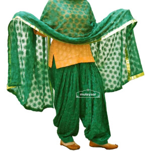 DARK GREEN PHULKARI Patiala Salwar with matching Dupatta PHS06
