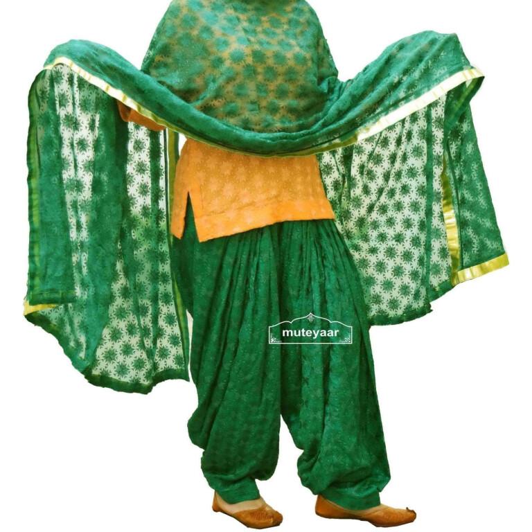 DARK GREEN PHULKARI Patiala Salwar with matching Dupatta PHS06