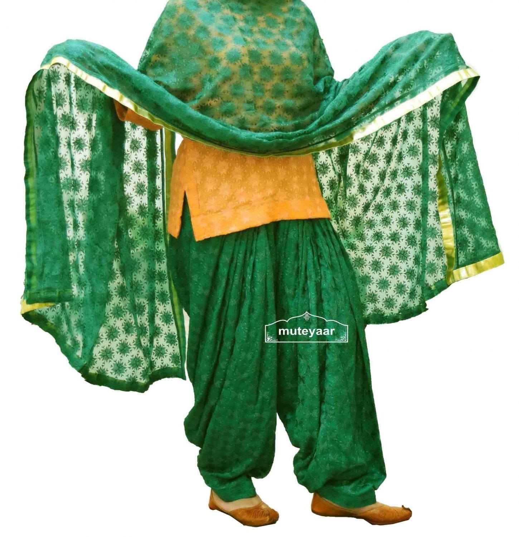Dark Green Phulkari Patiala Salwar Dupatta PHS06 1