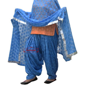 Sky Blue Phulkari Self Embroidered Patiala Salwar with matching Dupatta PHS29