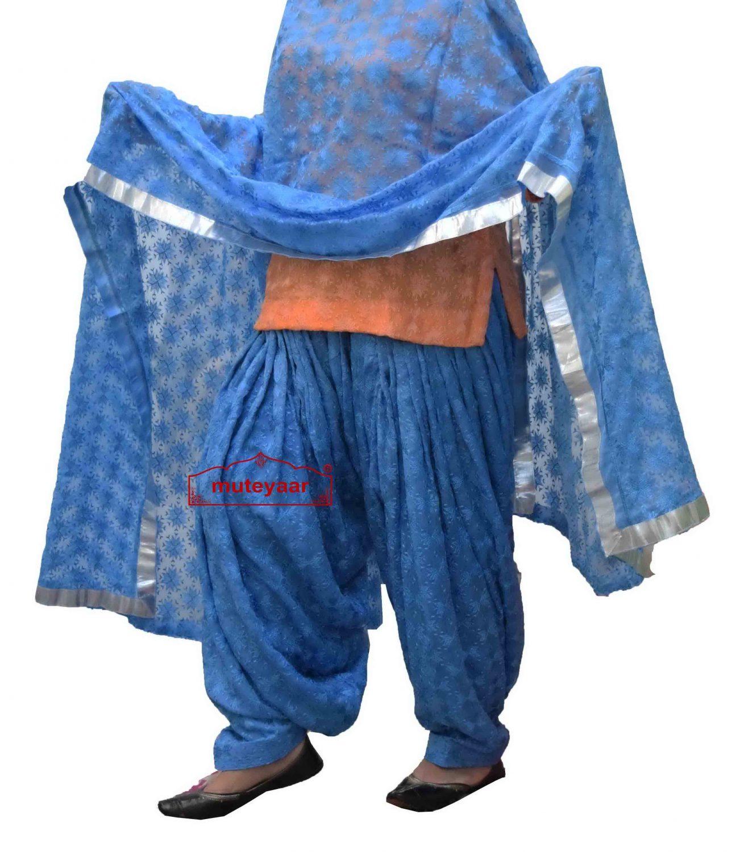 Sky Blue Phulkari Self Embroidered Patiala Salwar with matching Dupatta PHS29 1