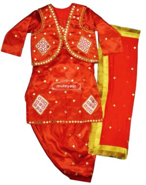 Women's Embroidered Bhangra Costume outfit dance dress with Jewellery