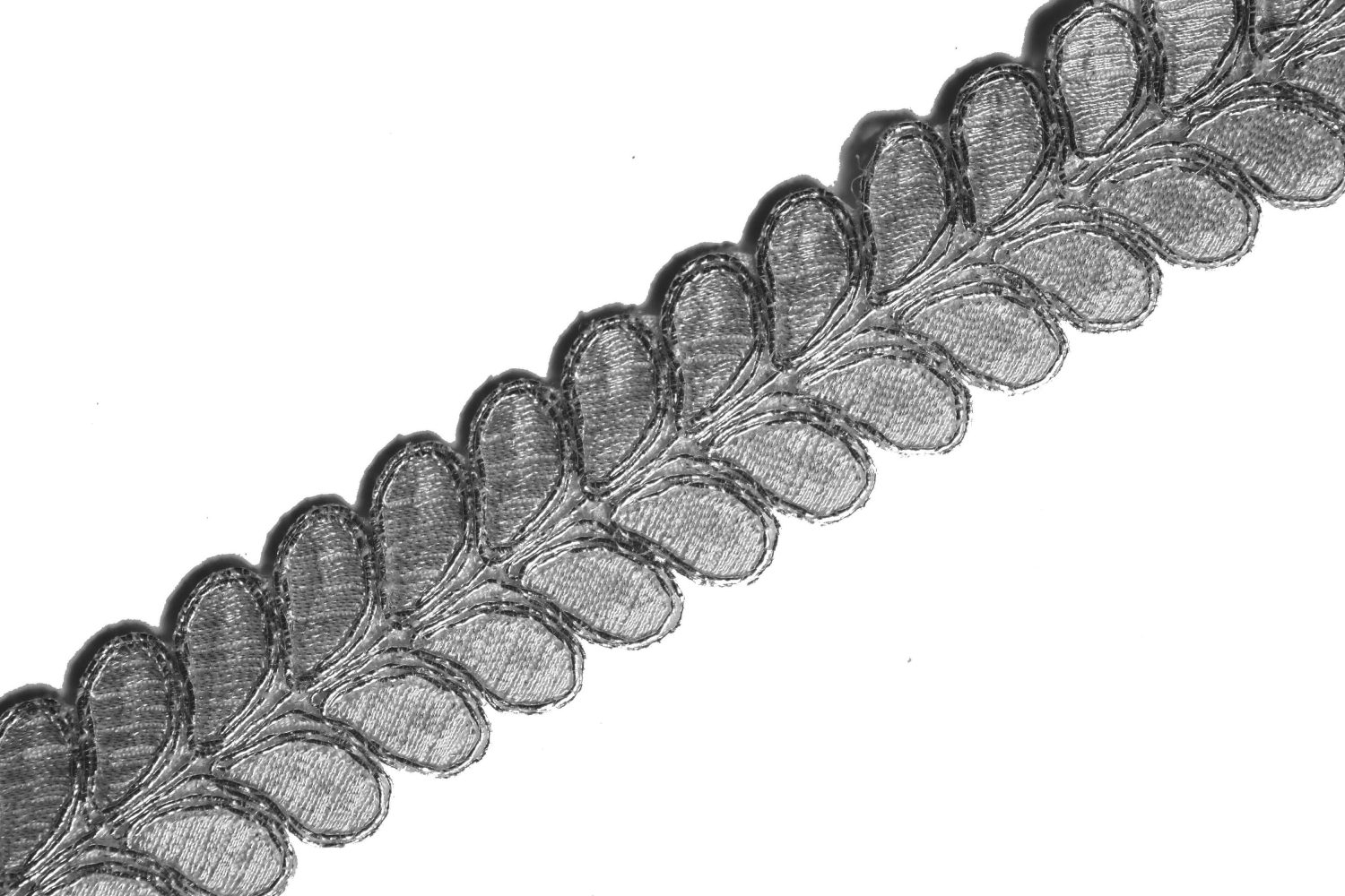 Silver Leaves Gota Patti Lace width One inch Roll of 9 mtrs. LC178 1