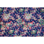 Multicolor Flowers on Dark Blue Printed American Crepe fabric drapy cloth for salwar kurti PAC52