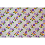 purple Small Flowers on White Base Printed Cotton Fabric for Kurti PC393