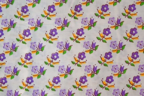 purple Small Flowers on White Base Printed Cotton Fabric for Kurti (per meter price) PC393