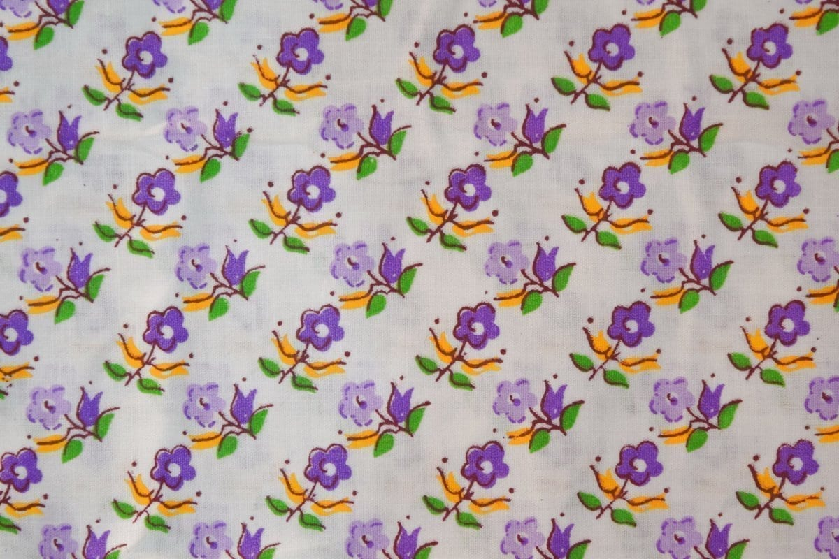 purple Small Flowers on White Base Printed Cotton Fabric for Kurti PC393 1