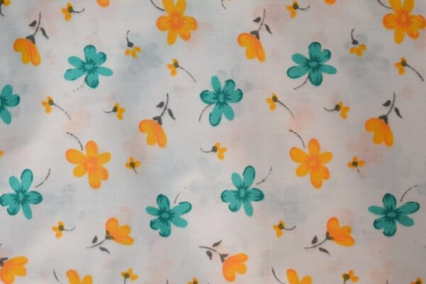 Saffron SeaGreen Small Flowers on White Base Printed Cotton Fabric for Kurti (per meter price) PC395