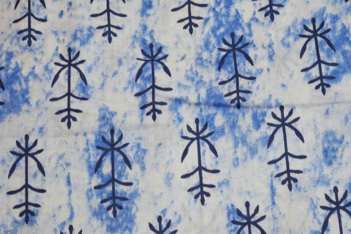 White Blue GLAZED COTTON Printed Fabric for Multipurpose use GC002 1