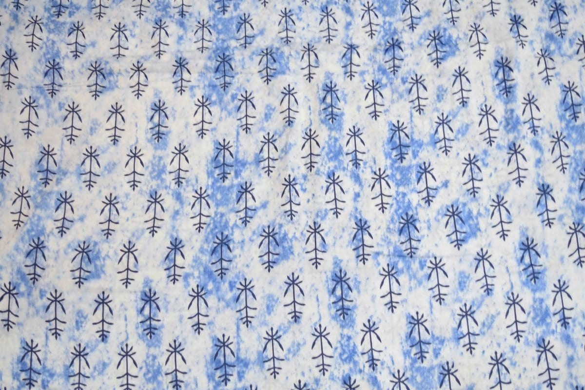 White Blue GLAZED COTTON Printed Fabric for Multipurpose use GC002 2