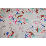 Light Grey Birds Print Glazed Cotton Fabric for Multipurpose use GC003