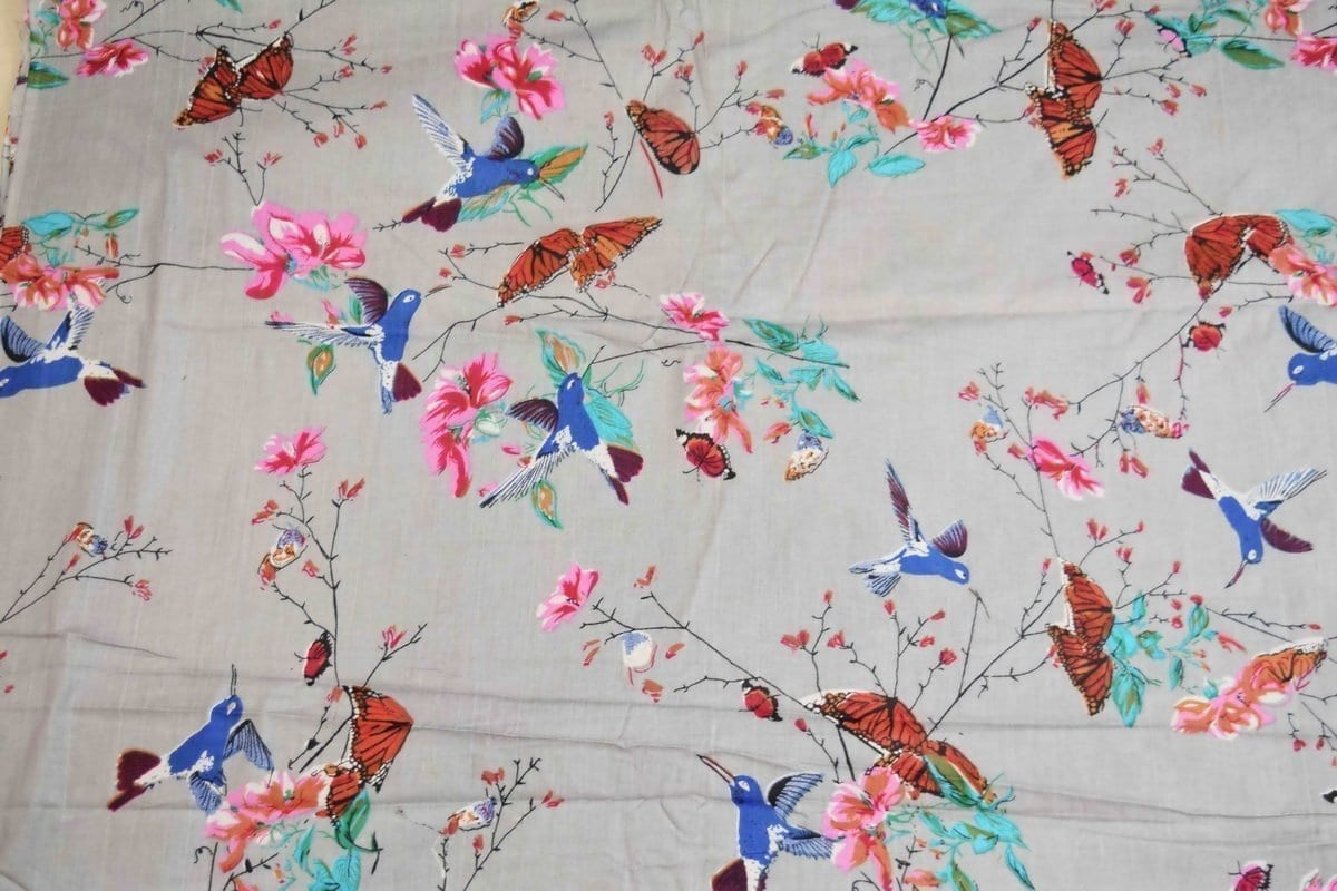 Light Grey Birds Print Glazed Cotton Fabric for Multipurpose use GC003 2