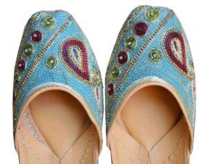 Dabka Work Plus Size Firozi Bridal Punjabi Jutti Party Wear Mojari PJ9821