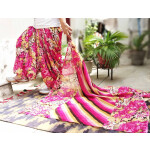 Pink Floral Print Multicolour Patiala Salwar Dupatta Set Pure Cotton PSD253