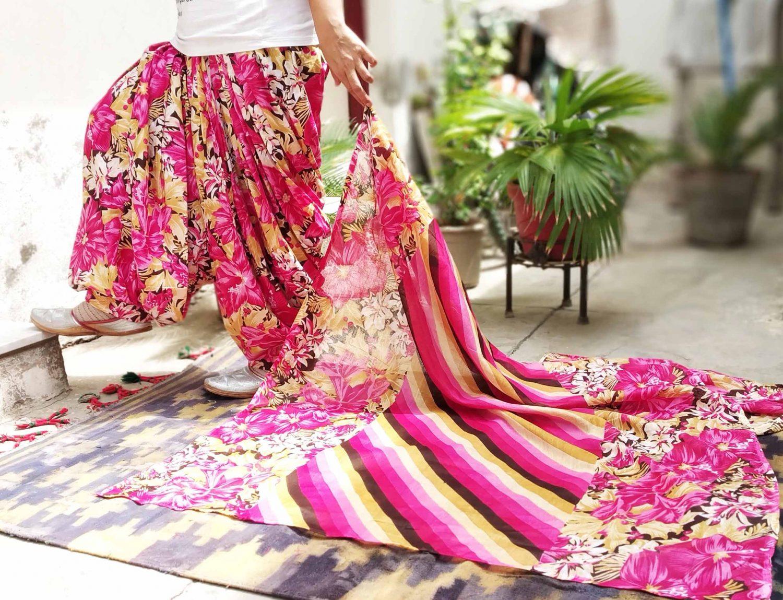 Pink Floral Print Multicolour Patiala Salwar Dupatta Set Pure Cotton PSD253 1