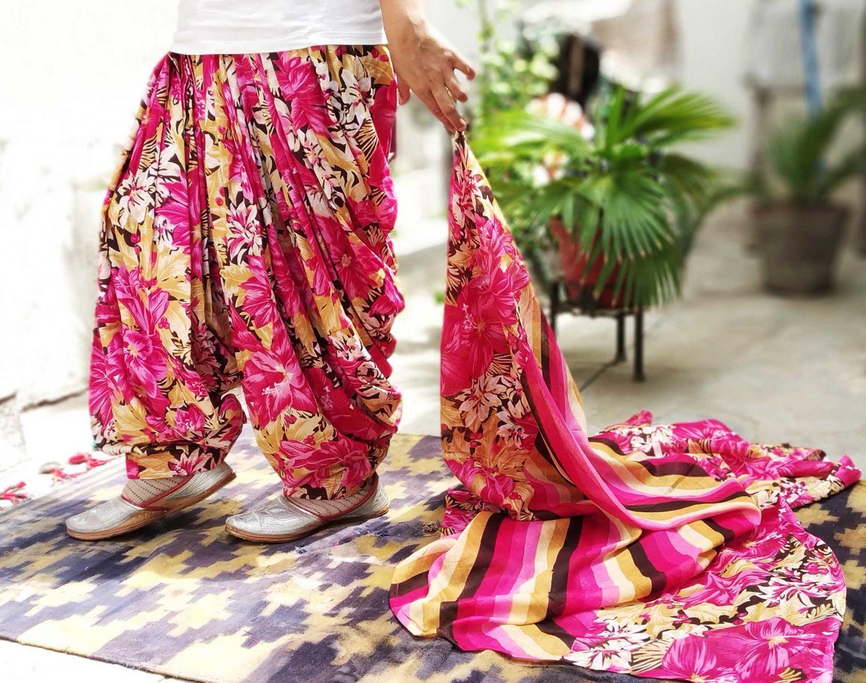 Pink Floral Print Multicolour Patiala Salwar Dupatta Set Pure Cotton PSD253 2