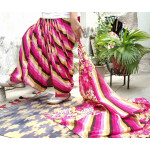 Pink Leheria Print Multicolour Patiala Salwar Dupatta Set Pure Cotton PSD254