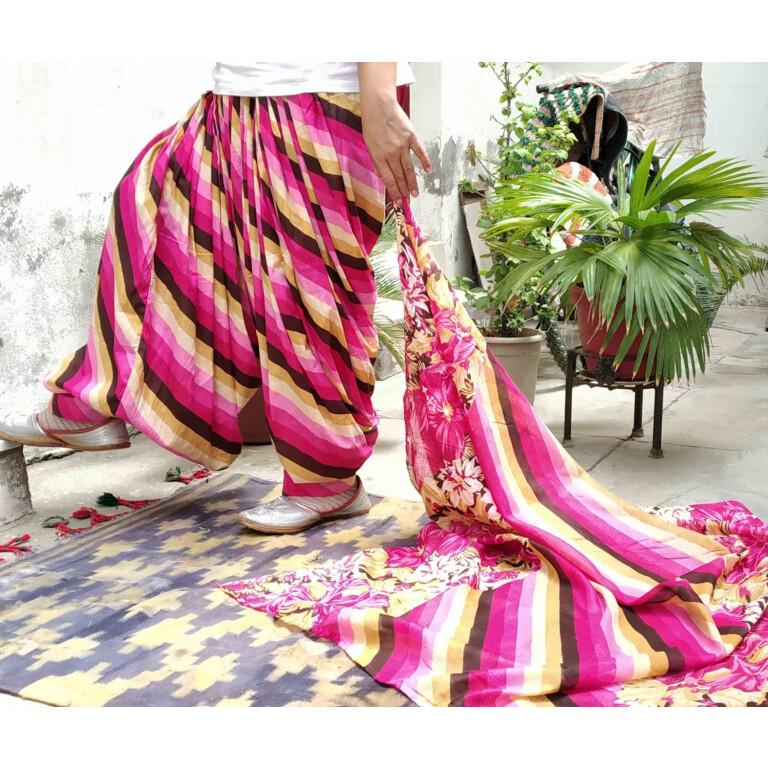 Pink Leheria Print Multicolour Patiala Salwar Dupatta Set Pure Cotton PSD254