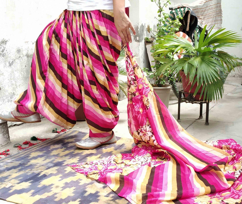 Pink Leheria Print Multicolour Patiala Salwar Dupatta Set Pure Cotton PSD254 1