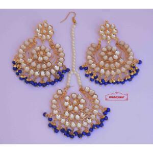 Blue Beads Kundan Earrings Tikka Set J0434