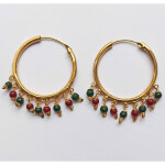 Golden Bali Earrings with Maroon Green beads J0435